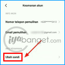 cara ganti password akun MI